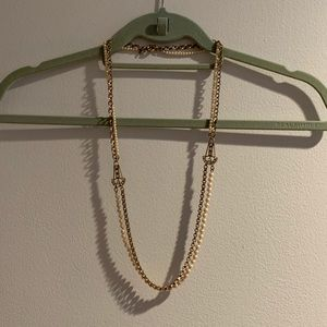 Auth J Crew Crystal Pearl Anchor Long Necklace